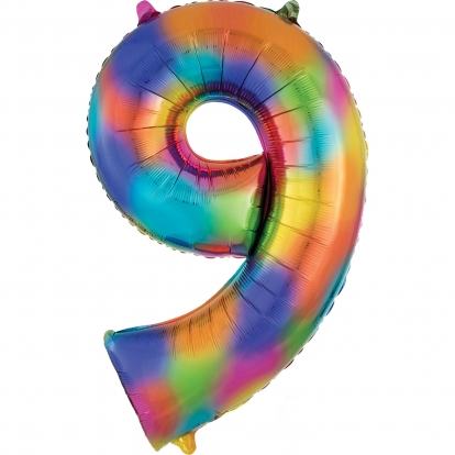 """Folinis balionas """"9"""", vaivorykštės spalvų  (86 cm)"""