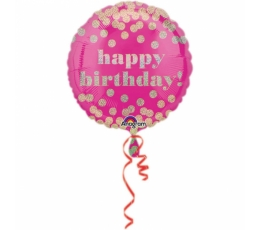 """Folinis balionas """"Aukso taškeliai"""", rožinis (45 cm)"""
