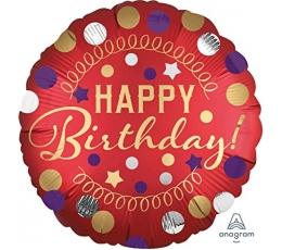 "Folinis balionas ""Happy Birthday Dots"" (45 cm)"
