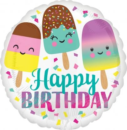 "Folinis balionas ""Happy Birthday Ice Cream"" (43 cm)"