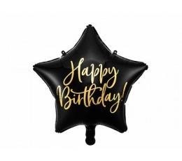 """Folinis balionas """"Happy Birthday"""", juodas (40 cm)"""