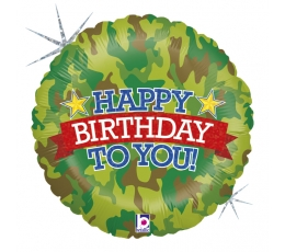 """Folinis balionas """"Kareiviškas gimtadienis"""", holografinis (46 cm)"""