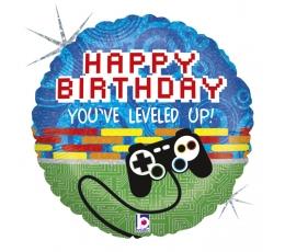 """Folinis balionas """"Kompiuteriniai žaidimai. Happy birthday"""" (46 cm)"""