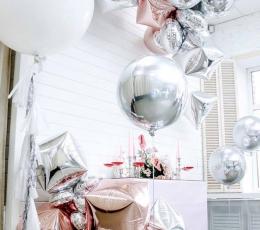 Folinis balionas-kubas, sidabrinis (38 cm) 1