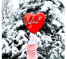 """Folinis balionas """"Raudona širdelė-Myliu"""" (91 cm)"""