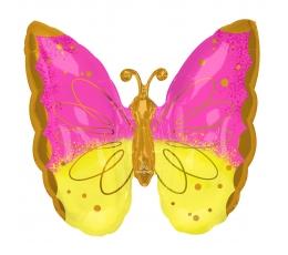 """Folinis balionas """"Rožinis geltonas drugelis"""" (63x63 cm)"""