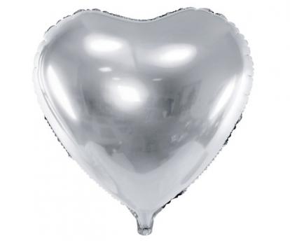 """Folinis balionas """"Sidabrinė širdis"""" (45 cm)"""