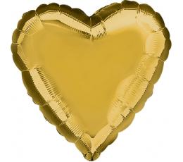 Folinis balionas-širdis, auksinis (43 cm)