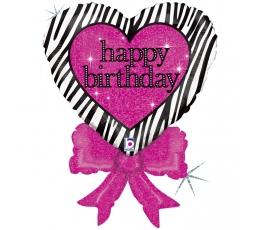 """Folinis balionas """"Širdis su rožiniu kaspinu"""" (76 cm)"""