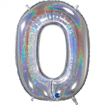 """Folinis balionas-skaičius """"0"""", holografinis (66 cm)"""