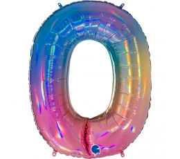 """Folinis balionas-skaičius """"0"""", įvairiaspalvis (102 cm)"""
