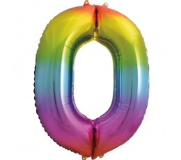 """Folinis balionas-skaičius """"0"""", įvairiaspalvis pastelinis (86 cm)"""