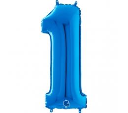 """Folinis balionas-skaičius """"1"""", mėlynas (66 cm)"""