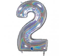 """Folinis balionas-skaičius """"2"""", holografinis (66 cm)"""