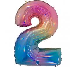 """Folinis balionas-skaičius """"2"""", įvairiaspalvis (102 cm)"""