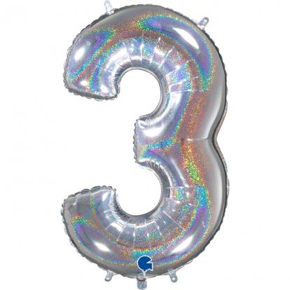 """Folinis balionas-skaičius """"3"""", holografinis (66 cm)"""