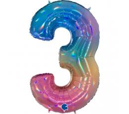 """Folinis balionas-skaičius """"3"""", įvairiaspalvis (102 cm)"""