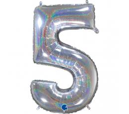 """Folinis balionas-skaičius """"5"""", holografinis  (66 cm)"""