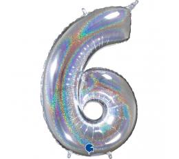 """Folinis balionas-skaičius """"6, holografinis  (66 cm)"""