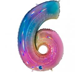 """Folinis balionas-skaičius """"6"""", įvairiaspalvis (102 cm)"""