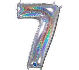 """Folinis balionas-skaičius """"7"""", holografinis  (66 cm)"""