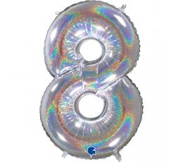 """Folinis balionas-skaičius """"8"""", holografinis (66 cm)"""