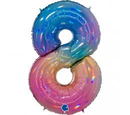 """Folinis balionas-skaičius """"8"""", įvairiaspalvis (102 cm)"""