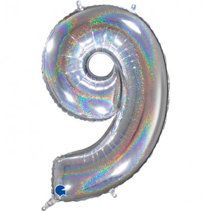 """Folinis balionas-skaičius """"9, holografinis (66 cm)"""