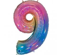"""Folinis balionas-skaičius """"9"""", įvairiaspalvis (102 cm"""
