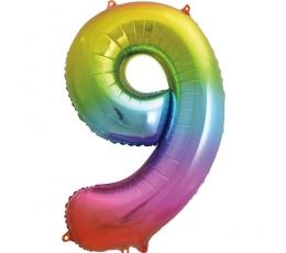 """Folinis balionas-skaičius """"9"""", įvairiaspalvis pastelinis (86 cm)"""