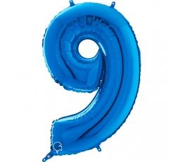 """Folinis balionas-skaičius """"9"""", mėlynas (66 cm)"""