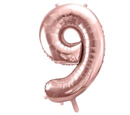 """Folinis balionas-skaičius """"9"""", rožinis auksas (85 cm)"""