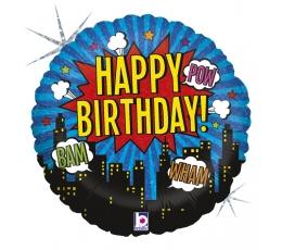 """Folinis balionas '""""Superherojaus gimtadienis"""" (46 cm)"""