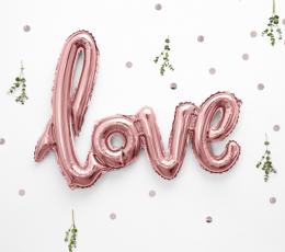 """Folinis balionas-užrašas """"Love"""", rožinio aukso (73x59 cm) 1"""