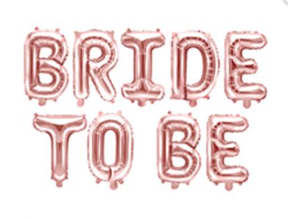 """Folinių balionų rinkinys """"Bride to be"""", rožinio aukso spalvos (35 cm)"""