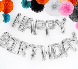 """Folinių balionų rinkinys """"Happy birthday"""", sidabrinis (35 cm) 1"""