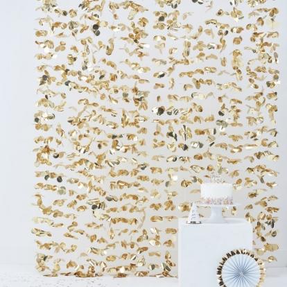 Folinių gėlyčių užuolaida, auksinė (2mx1,7 m)