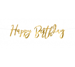 "Forminė girlianda ""Happy Birthday"", aukso spalvos (16x62 cm)"
