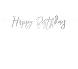 """Forminė girlianda """"Happy Birthday"""", sidabrinė (62 cm)"""