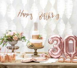 """Forminė girlianda """"Happy Birthday"""", rožinio aukso spalvos (62 cm) 1"""
