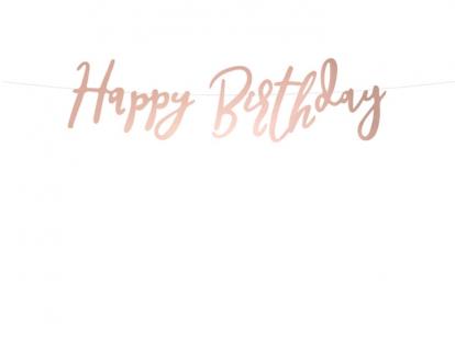 """Forminė girlianda """"Happy Birthday"""", rožinio aukso spalvos (62 cm)"""