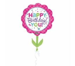 """Forminis balionas """"Gimtadienio gėlytė"""" (53x73 cm)"""