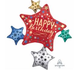 "Forminis folinis balionas ""Happy Birthday Stars"" (88x81 cm)"