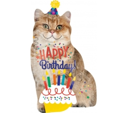Forminis folinis balionas katinas ''Happy Birthday!'' (45 x 83 cm)