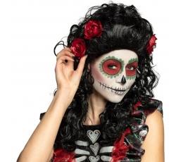 Garbanotas perukas su rožėmis, juodas