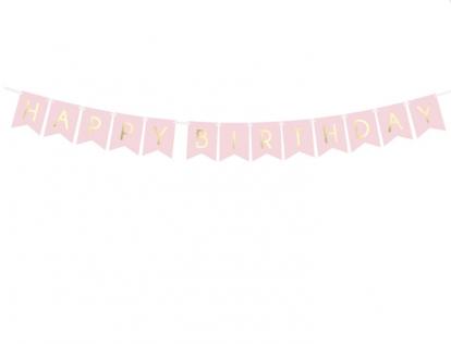 """Girlianda """"Happy Birthday"""", rausva-auksinė (1,75 m)"""