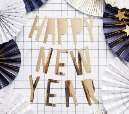 "Girlianda  ""Happy New Year"". auksinė (10x90 cm) 1"