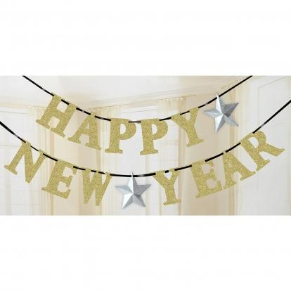 """Girlianda """"Happy New Year"""", auksinė (3,6 m)"""