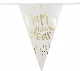 """Girlianda """"Happy New Year"""", balta-auksinė (4 m) 1"""