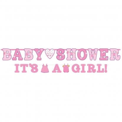 """Girliandos """"Baby Shower/It's a girl"""", rožinės (2 vnt.)"""
